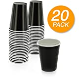 SparkSettings Disposable Paper Cups Drinking Paper Cup for Both Hot and Cold Beverages Perfect for Coffee, Tea, Water or Juice - Jet Black, Pack of 20