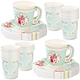 Talking Tables Truly Scrumptious Vintage Floral Paper Tea Cups with Handles and Saucers for a Tea Party or Birthday (24 Pack)