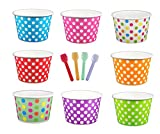Black Cat Avenue Paper Ice Cream Cups with Spoons Combo, Polka Dot, Mix, 8 Ounce, 50 Pack
